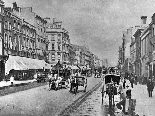 John Lewis store in 1885, Oxford Street. This suffered WWII bomb damage in 1940, reopened within weeks and was fully rebuilt by 1954
