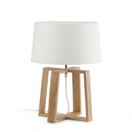 BLISS - Lampada da tavolo, dal design moderno per illuminazione interna, in legno, metallo e paralume tessile. Lampadina 1 x E27 60W non inclusa.