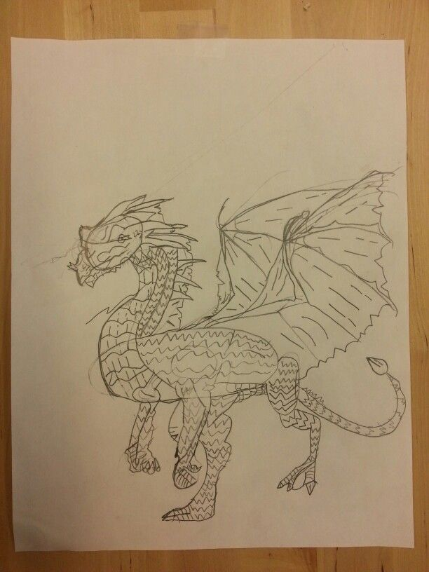Dragon drawing by Mirror L, age 9. #wingedstudent