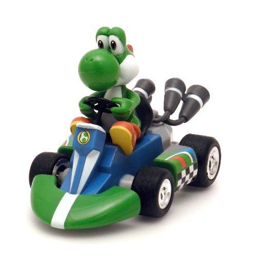 """Nintendo Yoshi Kart Large Pull Back by Nintendo. $8.96. Simply drag your cart in reverse until it makes a """"click"""" sound, then let go. Perfect addition to any Mario collection. Ready to race out of the box. Offically licensed product of Nintendo. Intended for ages 7+. From the Manufacturer                Bring the fast, action packed excitement of MarioKart racing into your own home with the large Mariokart Wii pull-back racer. These large sized Mario Karts are approximately 4...."""