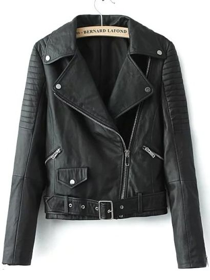 Online shopping for Black Lapel Oblique Zipper Crop PU Jacket from a great selection of women's fashion clothing & more at MakeMeChic.COM.