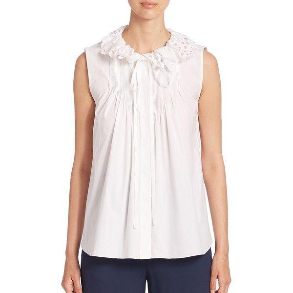 Chloé Sleeveless Eyelet Blouse ($1,195) ❤ liked on Polyvore featuring tops, blouses, designer lifest - chloe rtw, sleeveless tops, white sleeveless blouse, white pullover, sleeveless blouse and white eyelet top