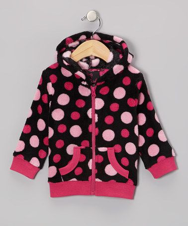 Take a look at this Black Polka Dot Zip-Up Hoodie - Infant, Toddler & Girls by Girls Rule on #zulily today!