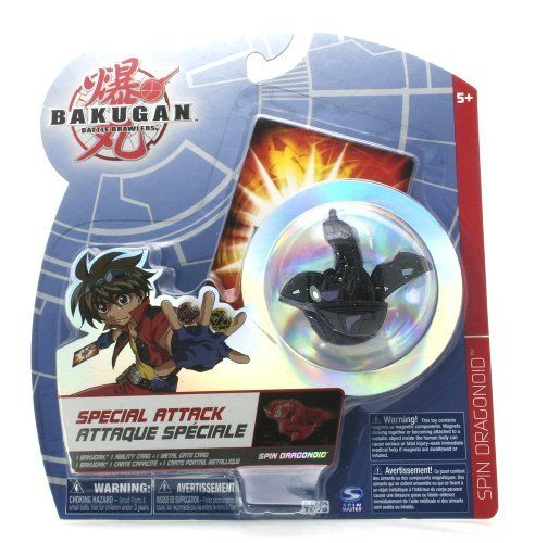"""Bakugan Battle Brawlers Special Attack Black Spin Dragonoid - """"NOT"""" Randomly Picked, Shown As In the Picture! by Spin Master. $15.99. For age 5 and up. Warning! Risk of serious digestive injuries in the event that magnets are swallowed!. Special attack includes: 1 Bakugan, 1 ability cards, and 1 metal gate cards. """"NOT"""" randomly picked, you are getting what is shown in the picture, - black Spin Dragonoid. Bakugan Battle Brawlers Special Attack series. Bakugan Battle Brawlers ..."""