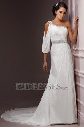 Sheath/Column One Shoulder Chiffon Wedding Dress - IZIDRESSES.COM at IZIDRESSES.com