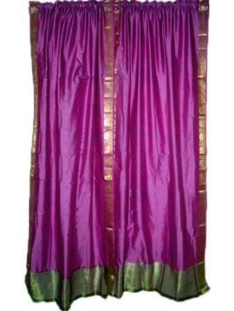 2 India Curtains Drapes Art Silk Sari Curtain Magenta Gold Border Window  Panels 84 Inch: