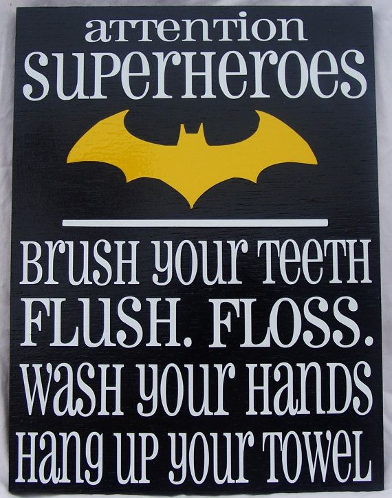 Attention Superheroes Batman bathroom rules by WordArtTreasures, $15.00