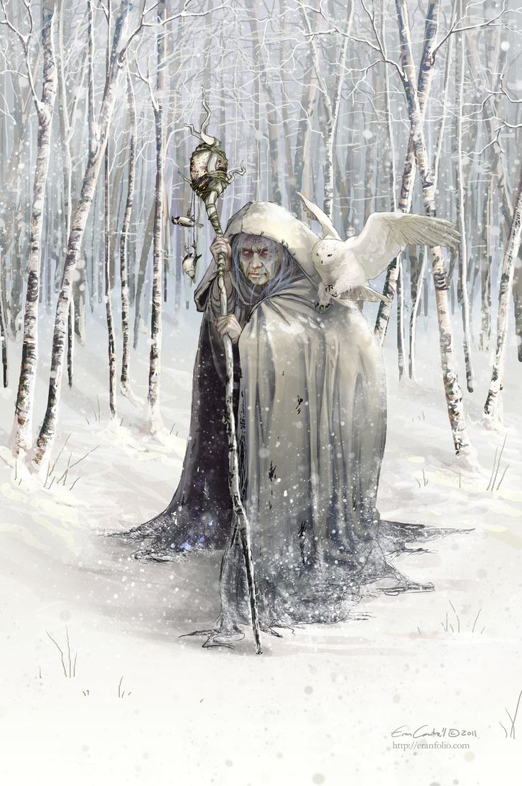 Beira, Queen of Winter, a Scottish deity.  She freezes the ground with her staff and chases away Spring
