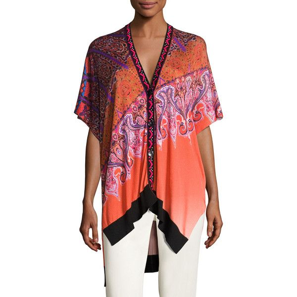 Etro Stampa Embroidered-Trim V-Neck Poncho Cardigan ($1,170) ❤ liked on Polyvore featuring tops, cardigans, v neck cardigan, v-neck cardigan, red cardigan, paisley top and red v neck cardigan