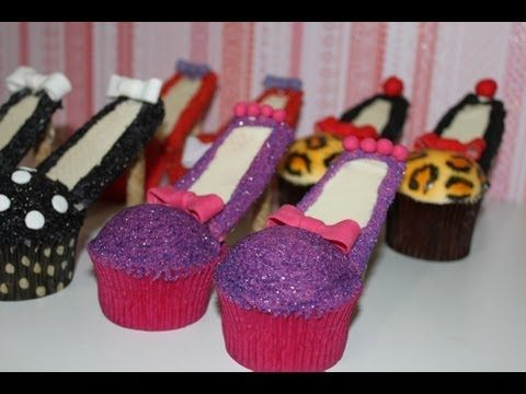 High heel shoe (Stiletto) cupcakes! Squeal - what's not to love about these edible fashion statements!   This tutorial and more available for FREE on our YouTube channel MyCupcakeAddiction