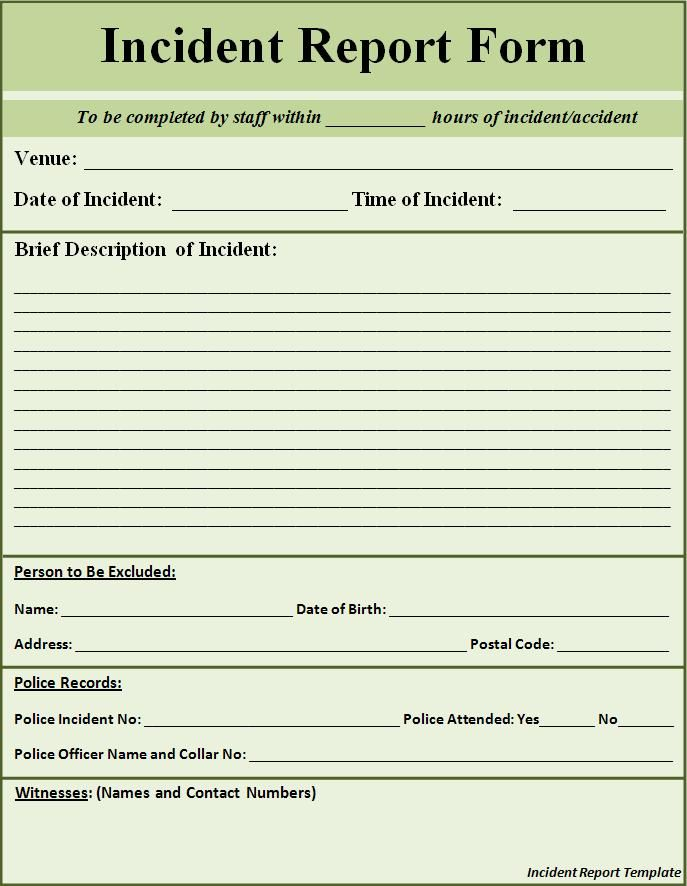 Generic Incident Report Template With Images Incident Report