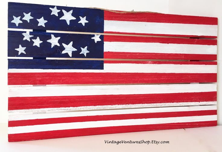 Show your patriotism with a hand painted USA flag on wood palettes. See rustic home decor at #VintageVenturesShop #Etsy to buy flag click link #USflag #USAflag #Americana #handmade #MemorialDayDecor #July4thParty #4thofJuly #IndependenceDay #Handmade #EtsyShop