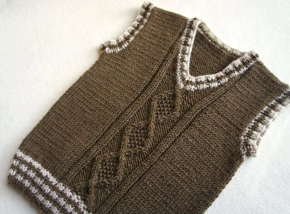 Children hand knitted wool vest Knitted Baby/ by KsyuKnitting