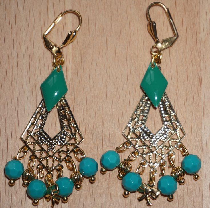 Boucles d'oreille vert emeraude perles