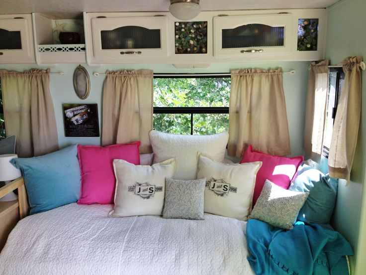replace the big sleeper sofa with a twin size bed that with pillows would be transformed into a daybed.  This would allow us to have more room, less weight in the camper and more storage (under the bed).