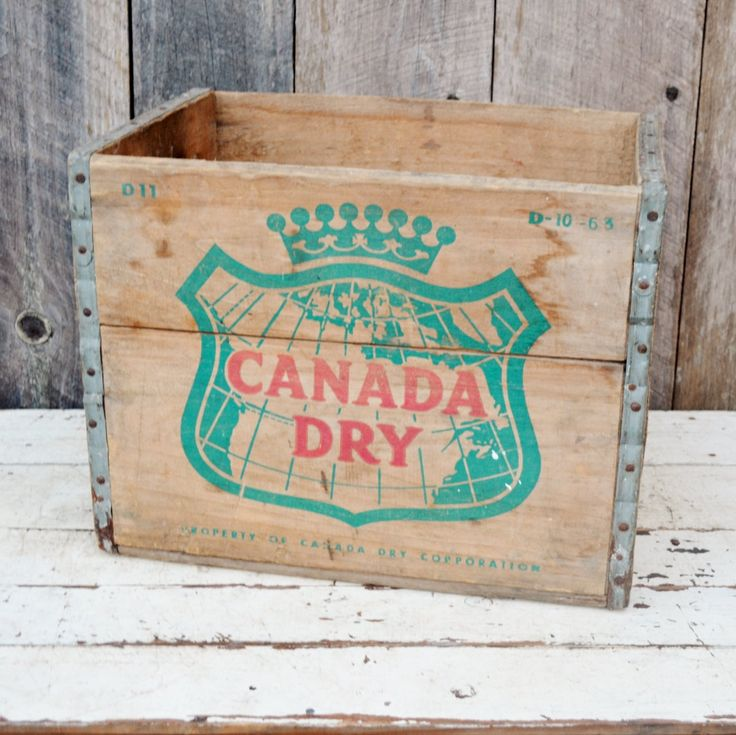 Vintage Canada Dry Ginger Ale Shipping Crate Wooden Box Green Red Logo Handles Soda Beverage Decorative Storage Collectible 1960's by RelicsAndRhinestones on Etsy