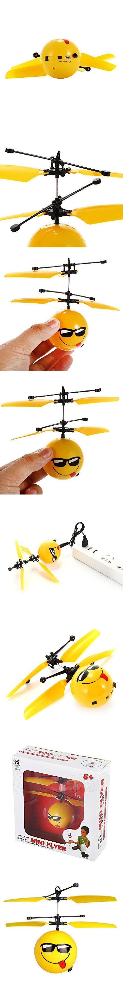 Lanlan 1PCS Infrared Sensor Hand Induced Flight Helicopter Ball Emoji Flying Heli Ball USB Charge Mini Aircraft ABS Plastic Hobbies RC Drone Kids Birthday Christmas New Year Toy Gift (Smug)