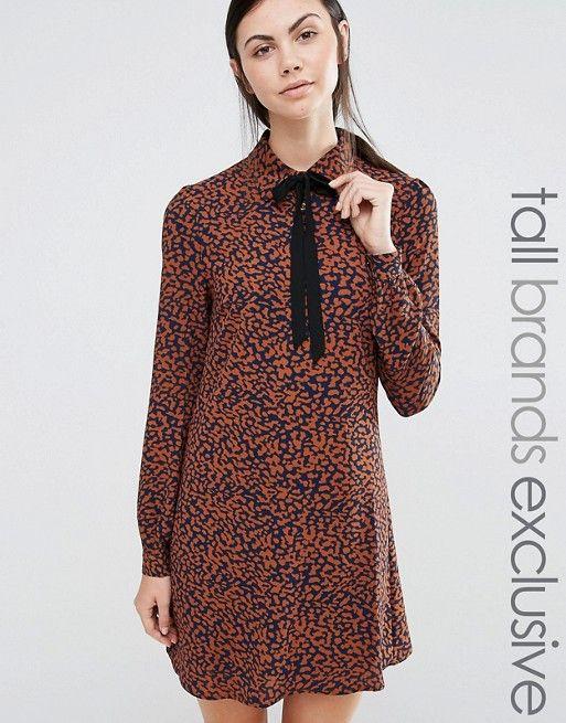 Fashion Union Tall | Платье с леопардовым принтом и лентой на вороте Fashion Union Tall Diana