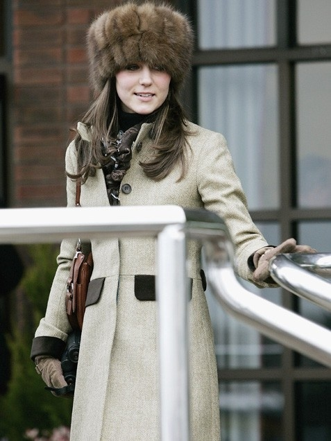 While at the Cheltenham Races in 2006, Kate Middleton kept warm in this Russian-style fur hat.