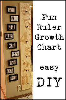 #DIY Ruler Growth Chart.....love the pics next to the heights