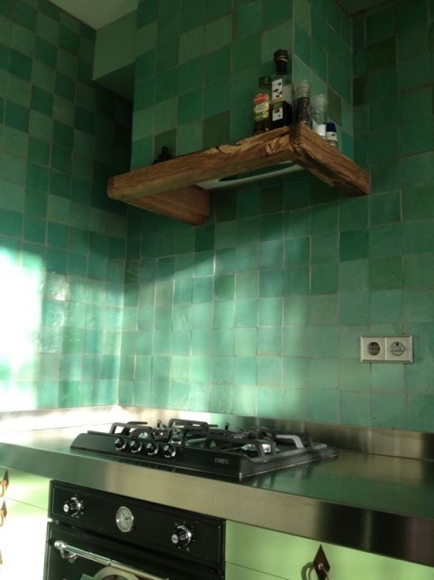 Interieuridee n keuken met groen tegels door kyss3s betegeling pinterest foto 39 s deuren - Onderwerp deco design keuken ...