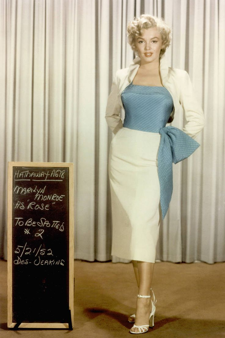 """Marilyn Monroe wardrobe test for """"Niagra""""--love the outfit."""