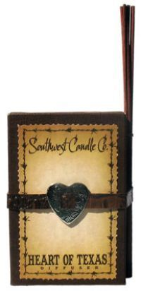 Southwestern Candle Company Heart Of Texas - Diffuser Gift Box. A heart warming blend of myrrh, sandalwood, patchouli and sweet musk notes with a hint of birch reminiscent of a blazing campfire.
