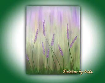 Pintura de acrílico hecha a mano, arte abstracto, pintura en tela, flores de color púrpura y verde