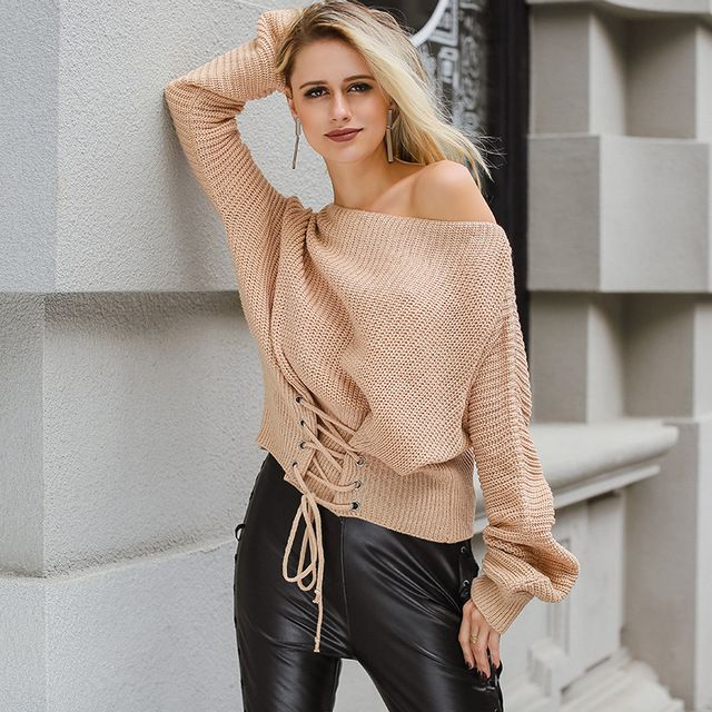 b693141113 Lily Rosie Girl Black Lace Up Knitted Pullover Sweater Women Elastic Long  Sleeve Jumper Casual Autumn