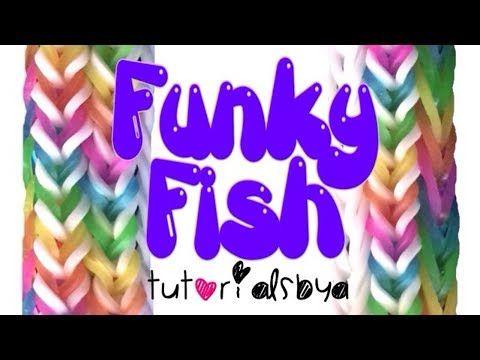 NEW [5-Pin] Funky Fish MONSTER TAIL Rainbow Loom Bracelet Tutorial
