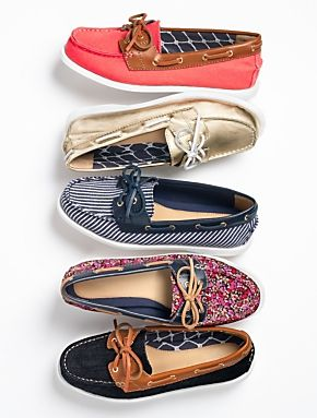 Talbots - Bonni Floral  Leather Boat Shoes | | Medium