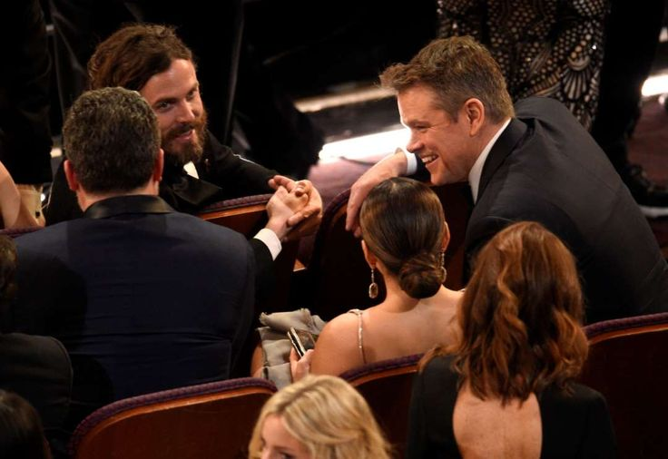 Actors and brothers Ben Affleck ﴾L‐facing front﴿ and Casey Affleck ﴾C﴿ with childhood friend Matt Damon.