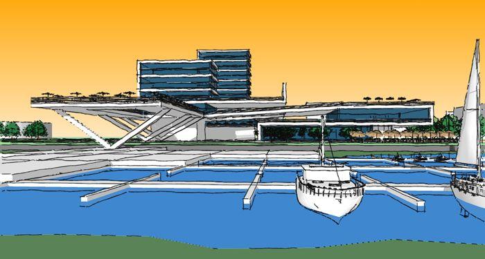 Архитектурный проект Яхт-клуба включает гостиничный комплекс, рестораны, спортивный клуб, кинотеатр под открытым небом и многое другое, общая площадь 35 500кв.м..jpg