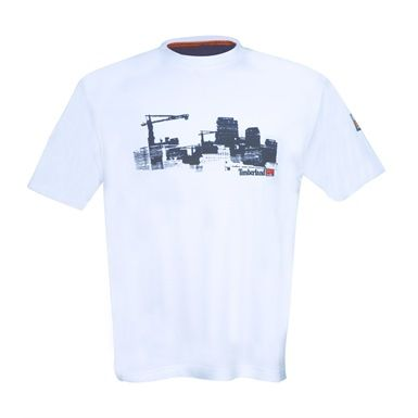 Featuring a printed Timberland Pro cityscape graphic, this Timberland 322 Short Sleeved interlocked cotton T-shirt is a lightweight garment for all weather use.