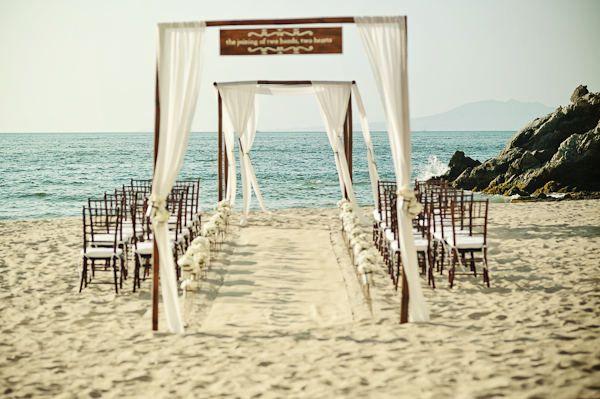 Beach wedding aisle