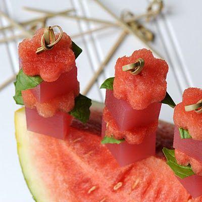 Jelly Shot : A Bite of Summer - Watermelon Basil Martini Jelly Shot