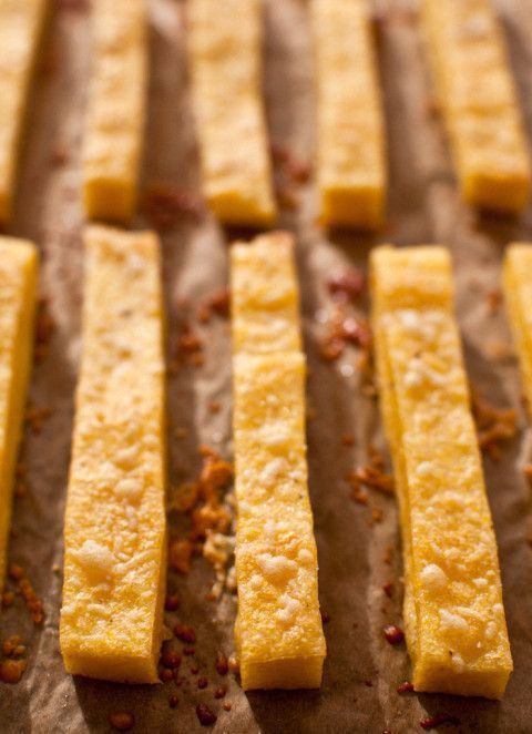 Parmesan Polenta Fries. Try to eat just one! Gluten-free, crispy, delicious. Mom's Kitchen Handboo
