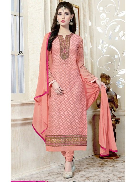 Voguish Peachy Pink Embroidered Salwar suit