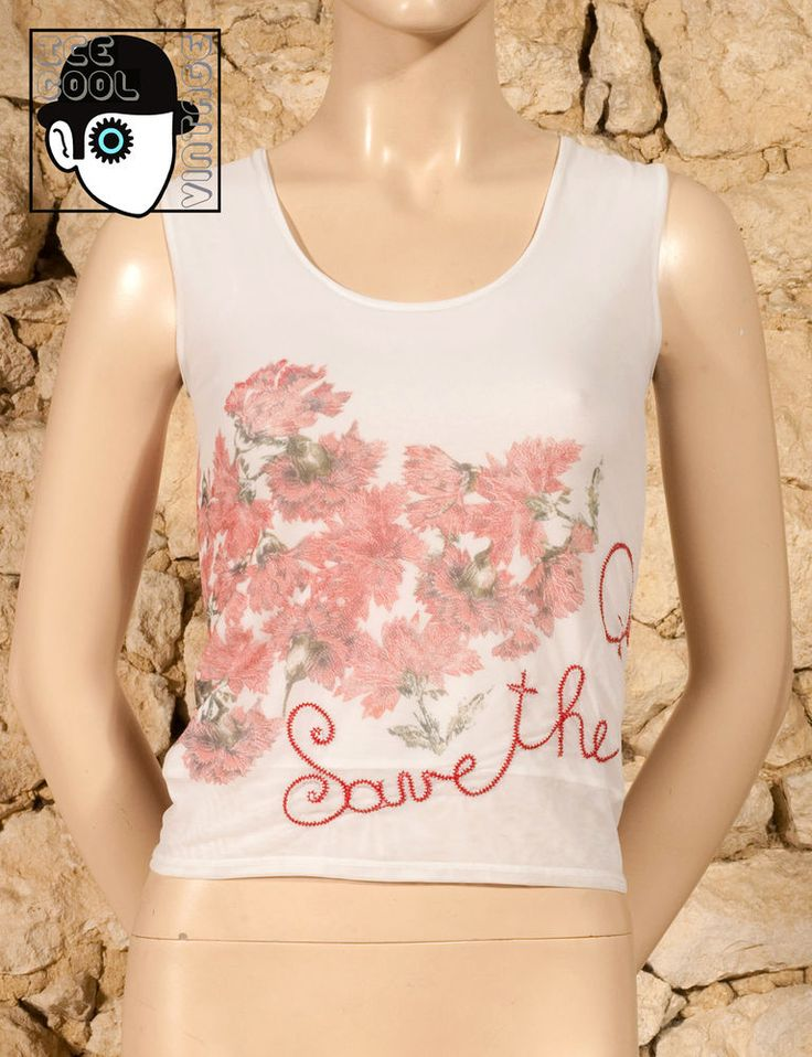 'SAVE THE QUEEN' FLORAL MOTIF EMBROIDERED TANK TOP - UK 12 - (Q) #SaveTheQueen