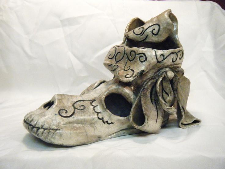 Dia de los muertos ceramic  shoe- ericka gonzales