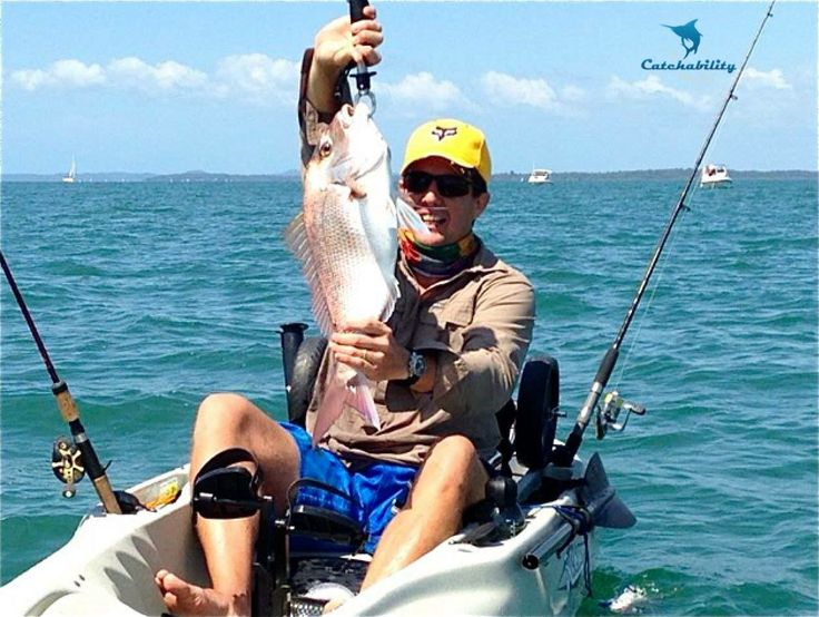"""Nice catch by Sean from a Kayak. His first """"pan size"""" Snapper - bet it tasted great!  http://www.catchability.com/"""