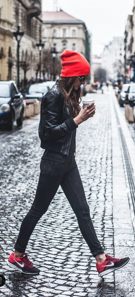street style / red color pop + leather