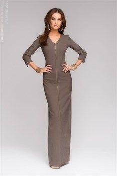 Платье серое длины макси в мелкую клетку с молнией спереди  - фото 7455