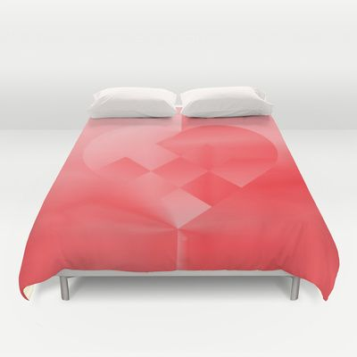 Danish Heart Love Duvet Cover by Gréta Thórsdóttir - $99.00  #love #heart #girly #Christmas #red #scarlet #ombre #pattern #bedroom