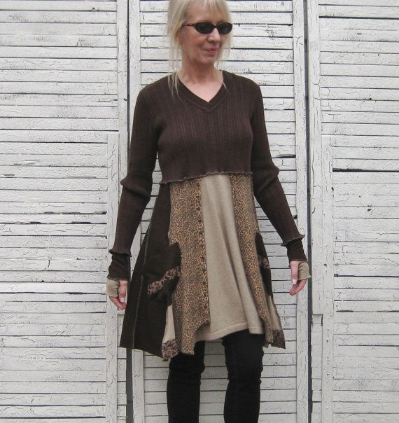 Sweater Tunic Upcycled Clothing Recycled Sweaters by AnikaDesigns