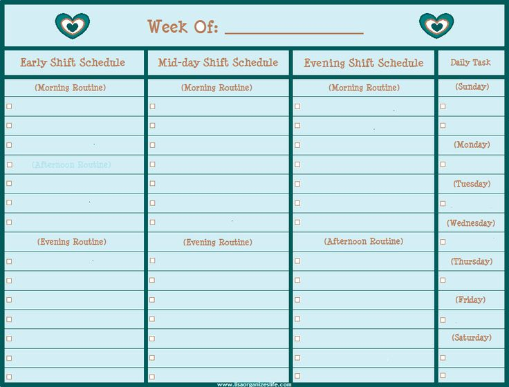 daily shift schedule template - 11 best images about free printables for organizing on