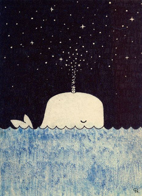 Whale creating stars  wish i could find where to buy this print! so cute.