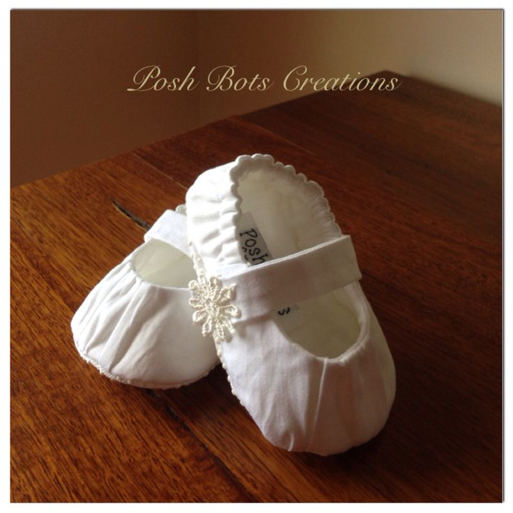 Fabric Christening Shoes in White Couture Cotton