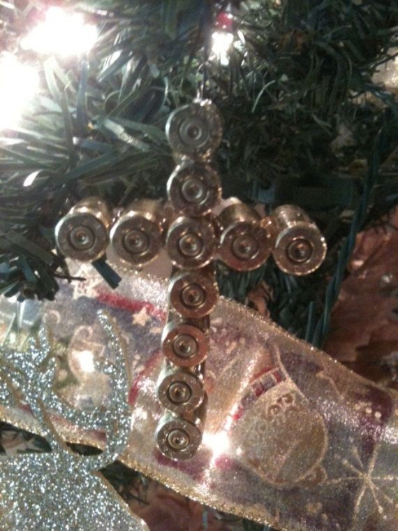 Bullet Casing Cross Ornament.