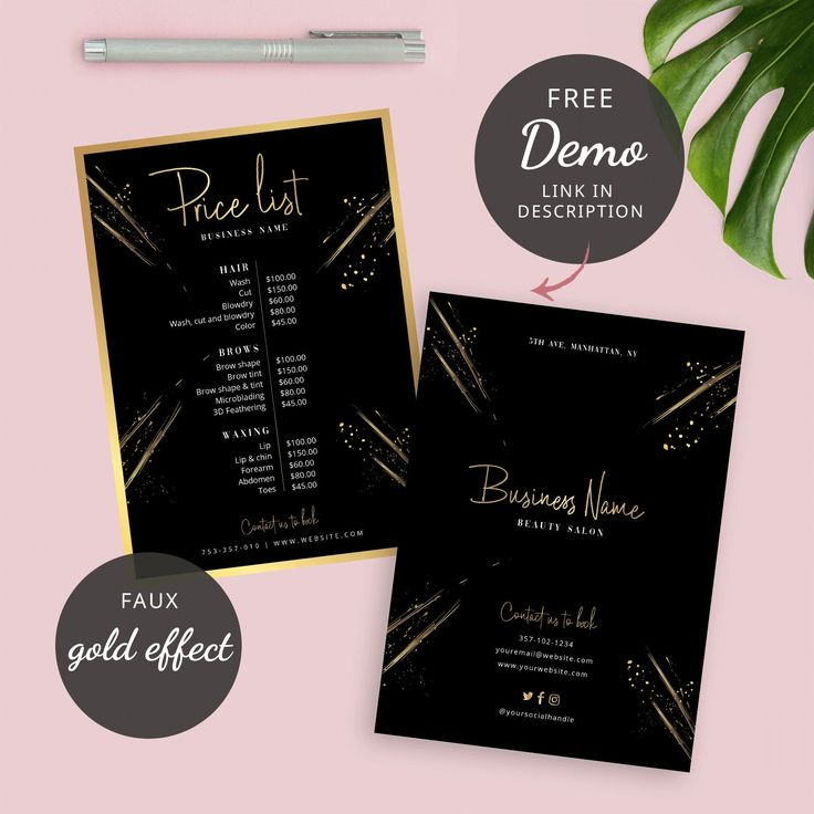 Editable Price List Template Salon Faux Gold Price List